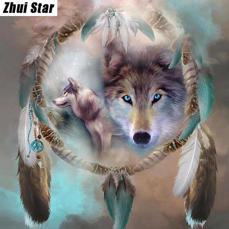 Алмазная вышивка с изображением волка