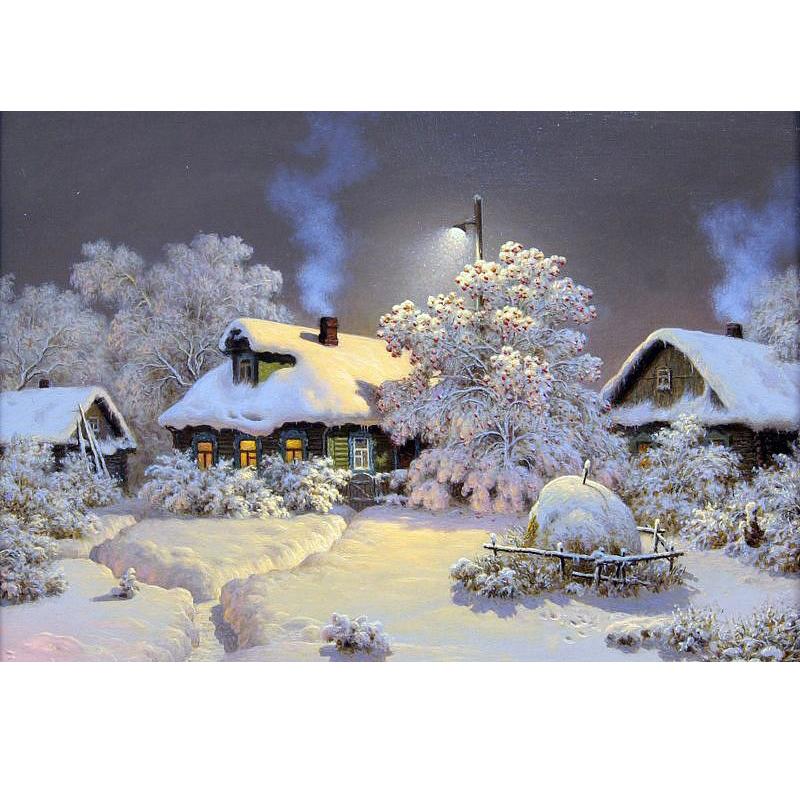 Алмазная живопись: зимний пейзаж