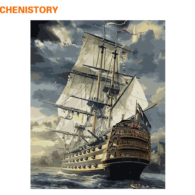 Картина по номерам: корабль в море