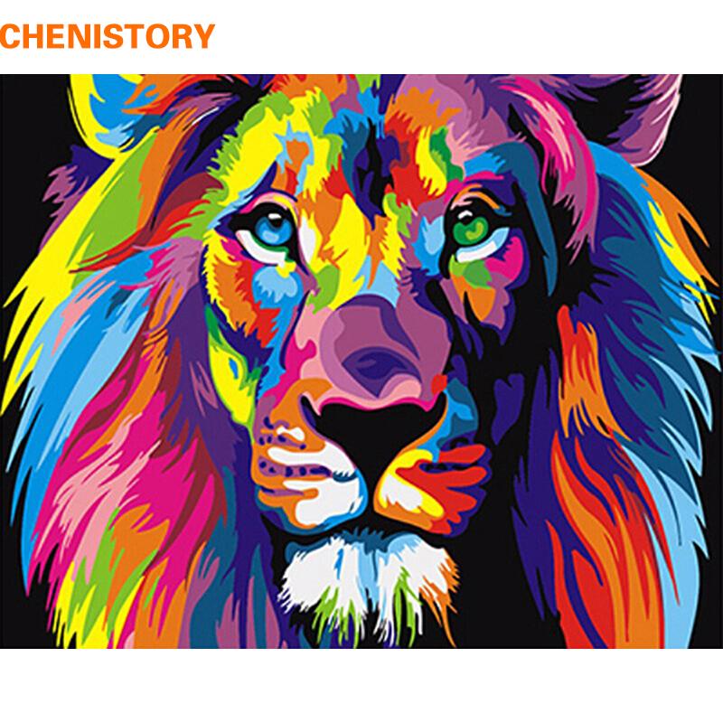 """Картина по номерам - """"Красочный лев"""""""